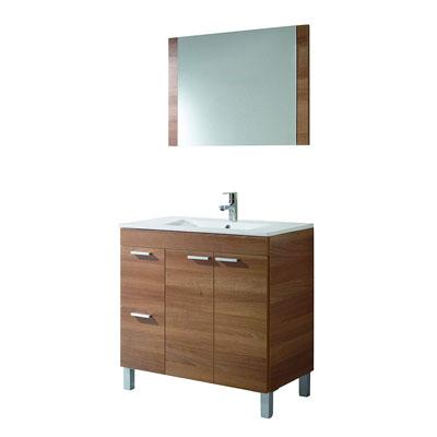ARKITMOBEL 305450N- Mueble de baño Aktiva con 2 puertas y espejo, modulo lavabo color Nogal, medidas 80 x 80 x 45 cm de fondo