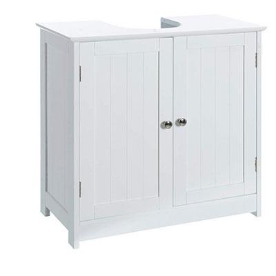 Armario bajo Lavabo Minimalista Blanco de Madera para Cuarto de baño