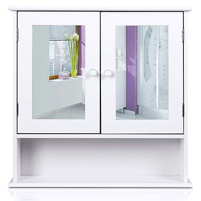 Armario de Baño con espejo Armario de Pared Armario de Cocina o Medicina Blanco 2 puertas y 3 Estanterías MDF 56x13x58cm