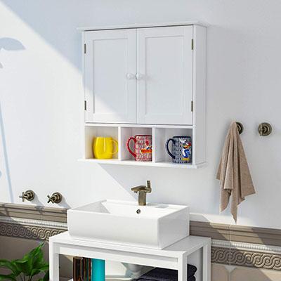 Armario de Pared Armario para Cocina Baño con 2 Puertas 5 Compartimentos Blanco 56x13x58cm