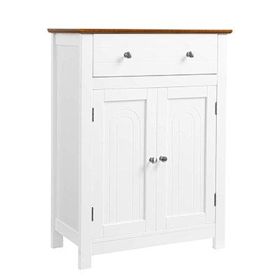 Armario para baño, Mueble de baño con cajón y balda Ajustable, con Estilo rústico, Madera, Blanco y marrón, 60 x 30 x 80 cm