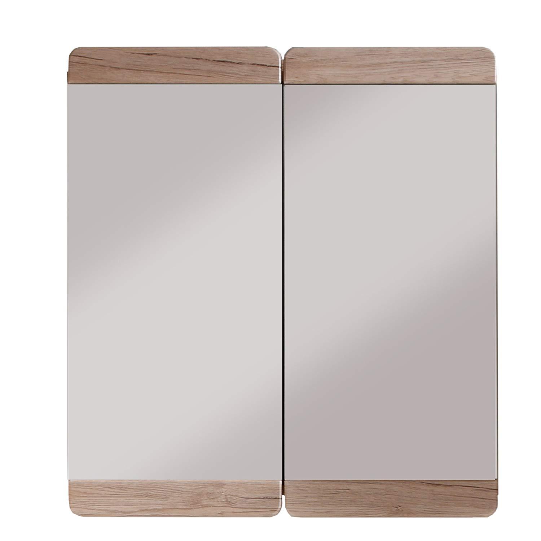 Camerino de baño con espejo Espejo Malea, 65 x 70 x 15 cm en acabado roble claro San Remo con mucho espacio