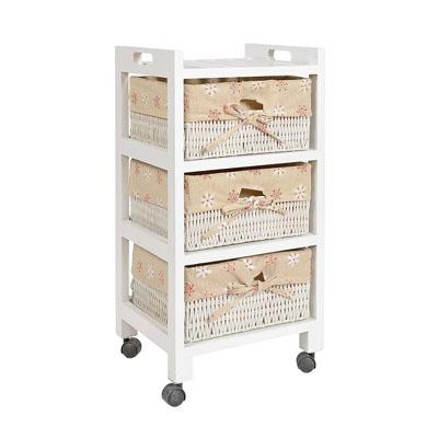 Cómoda estantería estante armario para rodar rollos ruedas en estilo de la alquería mesa de noche beige blanco con tres cestas en ratán