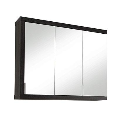 Cuarto de baño Camerino con espejo Espejo Sunrise, 90 x 72 x 20 cm, cuerpo en plata oscura Sardegna, frente en blanco