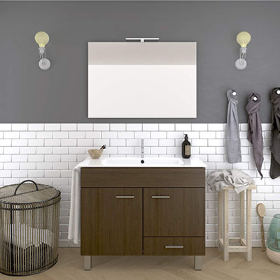 DUCHA.ES Mueble DE BAÑO con Lavabo Espejo TOALLERO LUZ LED Conjunto Moderno Medidas (60 CM, ROBEL Evasion)