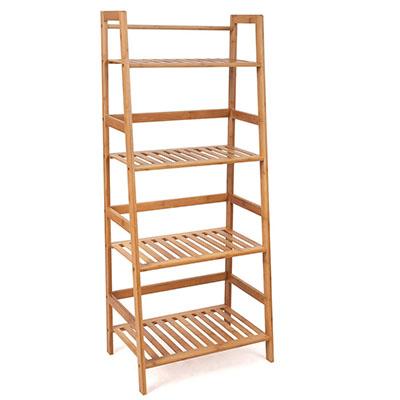 Estantería Baño de Bambú Estantería Almacenaje para libros plantas con 4 estantes 48 x 32x 116cm