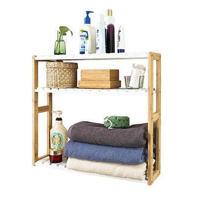 Estantería de Pared, estantería de baño, librería, estantería de Cocina de bambú, Color Natural/Blanco,ES