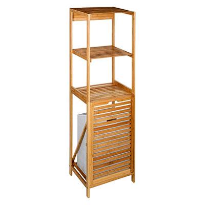 Estantería de almacenamiento 2 niveles + 1 Cesto para ropa de BAMBU - Estilo Exótico - Color MADERA