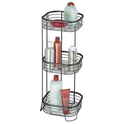 Estantería de baño – Mueble esquinero para la ducha de acero inoxidable con 3 baldas – Estante de baño para lociones, toallas de mano, jabón, etc. – negro mate
