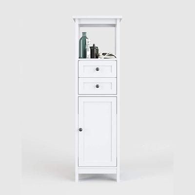 Estantería para baño (Tablero DM Lacado, 40 x 134,8 x 30 cm), Color Blanco