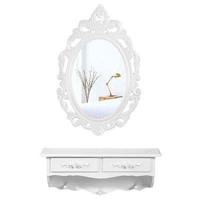 Mini Tocador de Pared Rústico con 1 Espejo Ovalado y 2 Cajones Mesa de Maquillajes, Blanco