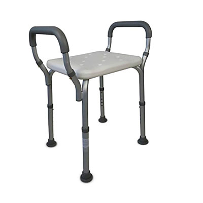 Mobiclinic Silla de Ducha | Taburete baño | Altura Regulable | Aluminio | Reposabrazos Acolchados | Conteras Antideslizantes | Peso máximo soportado 100 Kg | Modelo Acueducto
