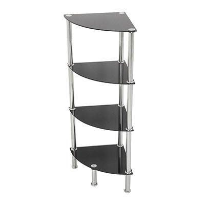 Moderna estantería de esquina para baño, sistema de almacenamiento, armario expositor, vidrio, negro, 4 Shelf