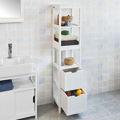 Mueble Columna de baño, Armario para baño - 3 estantes y 2 cajones