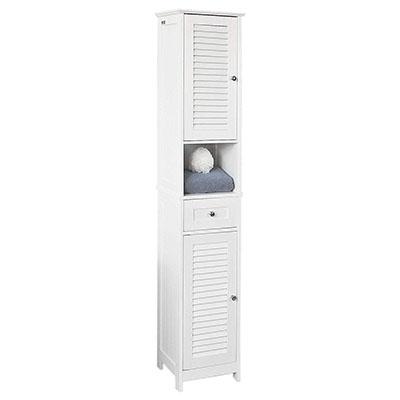 Mueble Columna de baño, Armario para baño Alto,estanterías de baño-2 Puertas y 1 cajón