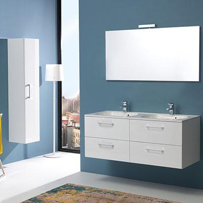 Mueble DE BAÑO Boston 120 CM Cuatro CAJONES Y Doble Lavabo Blanco Brillo