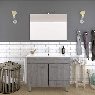 Mueble DE BAÑO con Lavabo Espejo TOALLERO LUZ LED Conjunto Moderno Medidas (60 CM, Roble Ceniza)