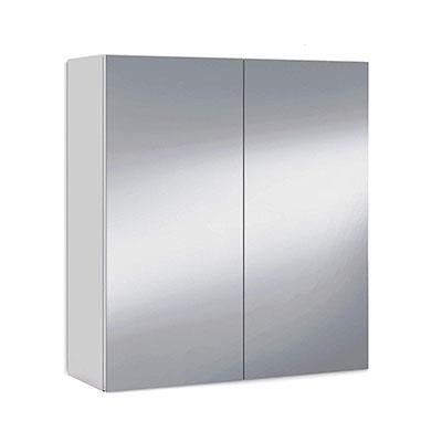 Mueble camerino dos puertas para baño, modulo con espejo y estantes, acabado en color Blanco Brillo, medidas 60 x 65 x 21 cm fondo