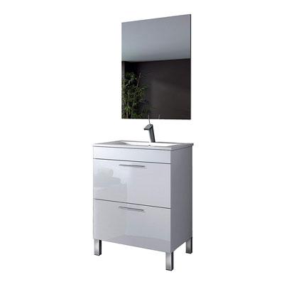 Mueble de baño, Madera contrachapada, Blanco Brillo Lacado, 80 x 60 x 45 cm