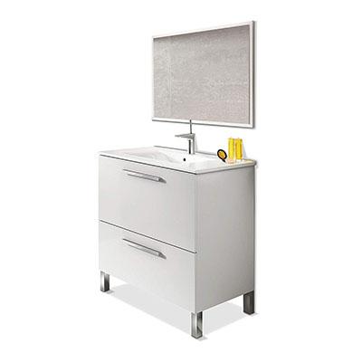 Mueble de baño Urban, módulo de lavabo con espejo color Blanco Brillo, medidas: 80 x 80 x 45 cm de fondo