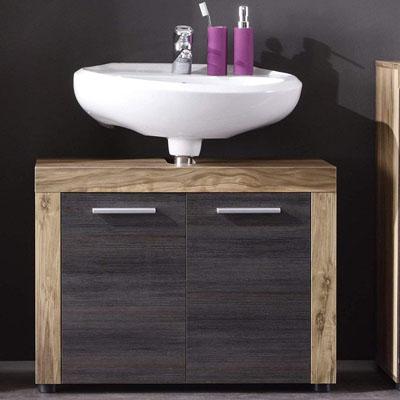 Mueble de baño base para lavabo Mueble base Cancun Boom, 72 x 56 x 34 cm en acabado nogal satinado con hueco para sifón