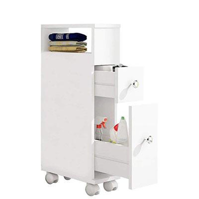 Mueble de baño con Ruedas con 2 cajones Carro de Almacenamiento de Cocina de Madera Mueble de baño 15 × 33 × 66.5 CM Blanco