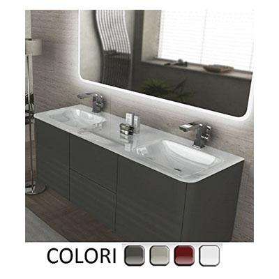 Mueble de baño, decoración Liverpool, suspendido, 140cm doble lavamanos en cristal blanco con 4 colores muebles