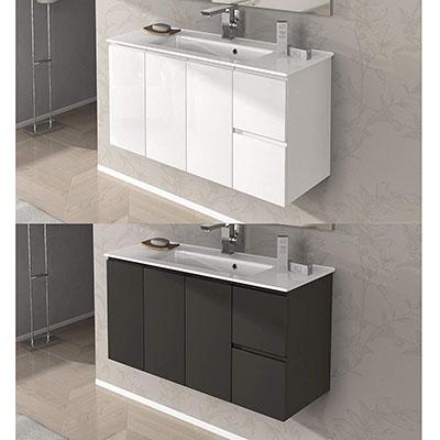 Mueble de baño decoración Omega de 100 cm suspendido con lavamanos en cerámica, blanco brillante, gris topo