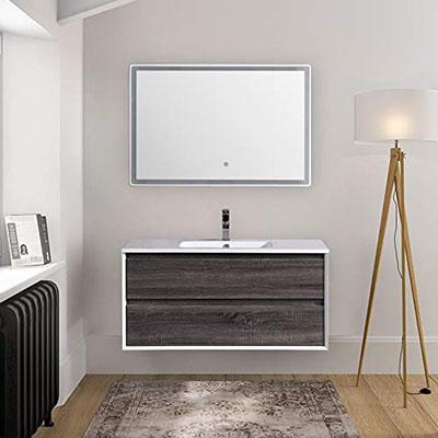 Mueble de baño suspendido de Roble eslavonia 120 cm con Espejo LED Touch Serie Oslo