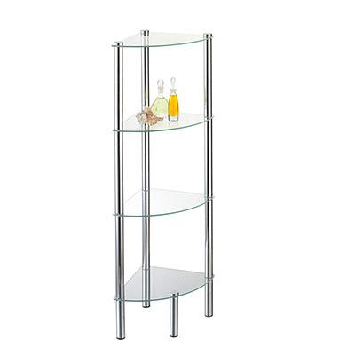 Mueble esquinero de 4 estanterías de Metal y Cristal (30 x 30 x 108 cm) [Importado de Alemania]