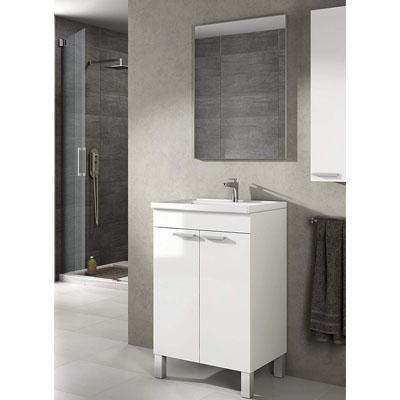 Mueble lavabo de baño-aseo pequeño con espejo incluido y lavamanos cerámico, 2 puertas color blanco brillo 50 ancho x 80 alto x 40 profundidad