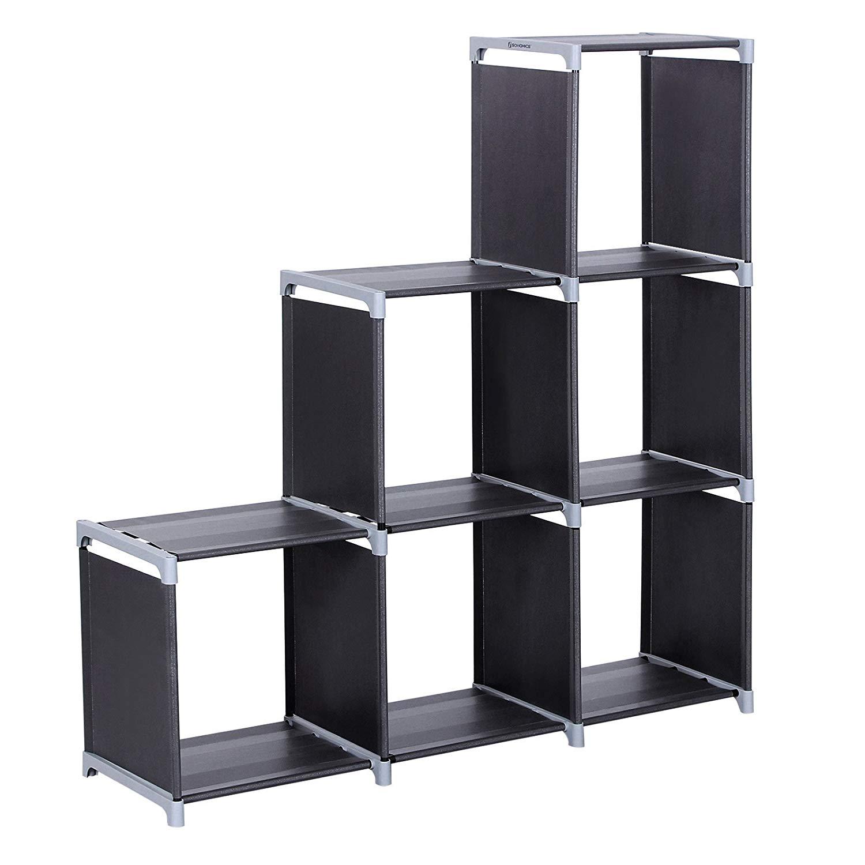 Organizador Multifuncional Estantería Librería de 3 Niveles 6 Cubos almacenaje