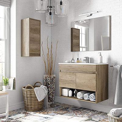 Pack mobiliario baño con Mueble, Espejo, Lavabo de cerámica y Armario Auxiliar diseño Moderno