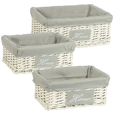 Set 3 Cestas mimbre blanco Home