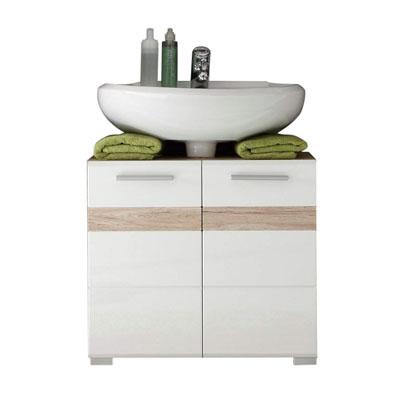 Set One - Mueble para debajo de lavabo, roble San Remo claro, parte frontal en blanco brillante