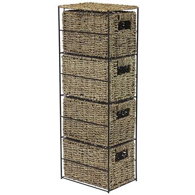 Torre de almacenaje (4 cajoneras de Junco Marino, 24 x 17 x 64,5 cm)