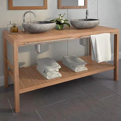 UBAYMAX Armario de baño, Mueble para Colocar Debajo y Lavabo, Mueble tocador Madera Teca Maciza con lavabos de Piedra de río, 2 lavabos, Color Madera Natural