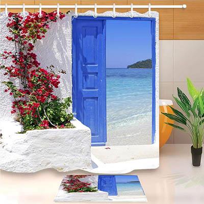 XQWZM Flor roja Puerta Griega Azul con Vista al mar en la Isla Cortina de Ducha  60X40Cm Estera Antideslizante Juego de baño Tela Impermeable para decoración de bañera a 180X200Cm