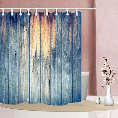 SHUHUI Cortina Ducha Retro Antiguo tablón Mara Pintura Azul Tela Cortina baño para baño 180X180 CM Ganchos