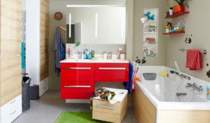 mueble con lavabo doble cuarto de baño familiar