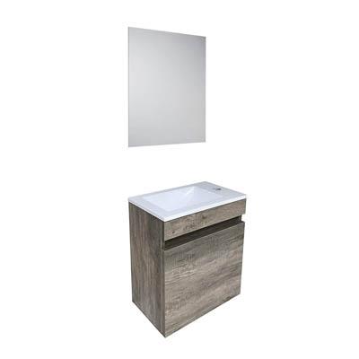 Starbath - Conjunto Mueble De Baño Suspendido MDF 40x22, Lavabo Resina, Espejo OSLO Nogal