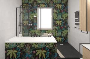 cuarto de baño estilo selva